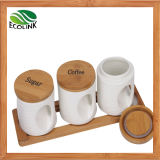 Ceramic Airtight Canister with Bamboo Lid & Bamboo Stand