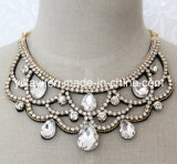 Lady Fashion Waterdrop Glass Crystal Collar Necklace Jewelry (JE0195)