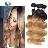 Shinesilk Hair Ombre Human Hair Extensions Color 1b/4/27 Peruvian Body Wave Hair Weave Non Remy Hair Bundles