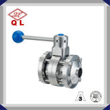 Beer Industry Stainless Steel Sanitary Three Pieces Butterfly Valves Butt Welded Ends