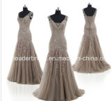 Crystals Prom Party Dress Vestidos V-Neck Tulle Brown Evening Dresses E165112