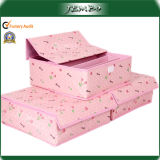 Pink Qualitied Cardboard Polyester Storage Box with Hook & Loop