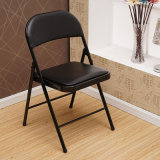 Black Metal Folding Chair with Vinyl PU Leather Seat Yc-P11-01