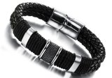 Hot Sale Black Braided Leather Bracelets Stainless Steel Magnetic Buckle Bracelets&Bangles for Men Boyfirend