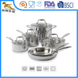 Tri-Ply Durable Stainless Steel Cookware Set 10PC OEM Manufacturer (CX-SS1006)