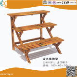 Garden Decoration Carbonized Wood Plant Stand Flower Rack