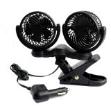 12V Car Auto Cooling Fan Oscillating Car Air Fan with Dual Head 2 Adjustable Speeds