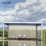 Beautiful Motorized Metal Shade Covers Pergola with Louver Roof