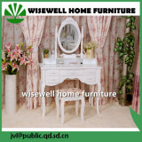 White Color Wood Dressing Table with 5 Drawer (W-HY-018)