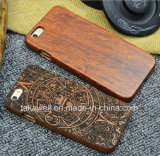 Rubberized PC+Wood Plate iPhone 7/6/5s Wood Mobile Phone Case Made by Rosewood/Bamboo/Walnut/Teakwood
