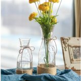 Cheap Clear Glass Flower Vase with Rope for Home Decoration