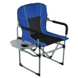 Deluxe Portable Folding Director Chair with Side Table and Pocket