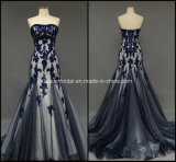 Strapless Ladies Party Gowns Mermaid Applique Evening Prom Dresses Z4030