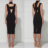 Black Deep V Neck Slim Sleeveless Women Dress