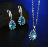 Brass Jewelry with AAA Cubic Zircon Rhodium Plated Fashion Drop Earring and Necklace Set Jewelry