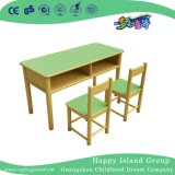 School Wooden Green Fireproof Desk with Drawer for Two (HG-4006)