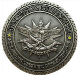 Wholesale Gift Custom Malaysian Contingent Antique Silver Metal Rope Edge Die Struck Brass Military Coin (159)
