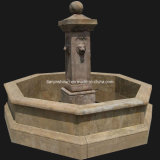Lion Head Pool Fountain, Antique Marble Carving (HAT001)