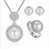 Rhodium Plated Natural Pearl Jewelry Set