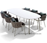 Outdoor White Aluminum Frame Dining Table and Chairs