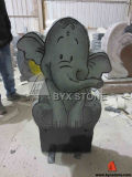 Black Engrave Tombstone Natural Granite Laser Etching Elephant Headstone