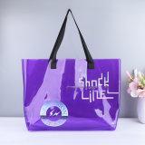 Custom Print Logo Black Solid Clear PVC Transparent Leather Tote Bag Fashion Ladies Shopping Handbag Tote Bag