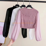Newest Lady Fancy Loose Round Collar Long Sleeve Patchwork Slim Knitted Blouse Women Tops Girls Blouse Adult Clothing Apparel Garments