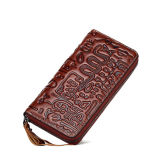 High Quality Good Price Handmade Brown Leather Zipper Travel Lady Wallet