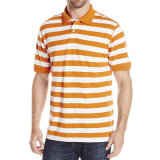 Wholesale Men Casual Polo Shirts Cotton Stripe Pique Polo Shirts