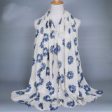 Womens Spring Cotton Flower Printing Shawls Sunscreen Wrap Cape Scarf (SW120)