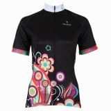 Black Women's Short Sleeve Cycling Shirts Breathable Row of Han Sport Outdoor Multicolor Flower