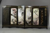 Chinese Wooden Screen, Lacquer Painting Plum Blossom Bamboo Flower Painting