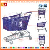 Fashion Big Size Supermarket Plastic Plastomer Shopping Trolley Cart (Zht92)