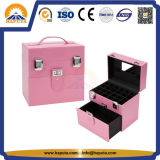 PVC Nail & Jewelry Beauty Makeup Case with Leather Frame (HB-6001)