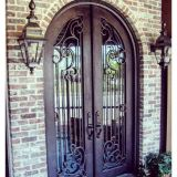 Beautiful Scroll Work Flemish Glass Wrought Iron Door