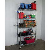 Wholesales 5 Shelves Adjustable Household Basement Hovel Sundries Storage Metal Wire Rack with Wheels