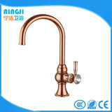 Handle with Crystal Rose Golden Kitchen Faucet Mixer