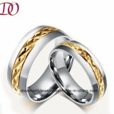 Gold Tyre Texture Stainless Steel Ring Women′s Jewelry Ring Men′s Ring