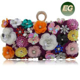 New Handbag Style Colourful Flower Lady Clucth Bag Rectangle Evening Party Bag Eb893