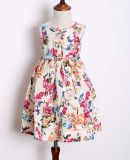 2020 Latest Fancy Floral Printed Patterns Child Girl Dress Summer Cotton Dresses Kids Clothes