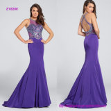 Crisscross Back Straps Sleeveless Beaded Evening Dress with Intricate Hand-Beaded Accents on Bodice and Thin Waistband