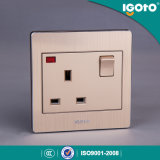 Igoto British Standard Brushed Aluminum 13A Wall Switch and Socket with Neon
