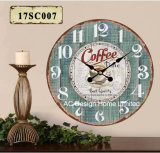 Vintage Decoration Antique Fresh Coffee Design MDF Wooden Print Paper Decal Wall Clock