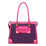 Rose Red Yarn-Dyed Fabric Patchwork Leather Handbags (MBNO035071)