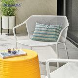 Contemporary Handrail Elegant Iron Frame Chair Waterproof Cushion Patio Furniture