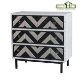 Home Decoration 3 Drawer Mirror Chevron Cabinet Livingroom Furniture