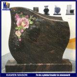 New Design Indian Aurora Granite Gravestone Slab with Colored Flowers