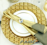 Paibee Cheap Glass Charger Plate Service Gold Glitter Charger Plates Home Plate Event 13inch Plate