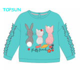 Girls Long Sleeve Tops Children's Clothing Blue T Shirt Baby Outfits 100% Cotton Cheap Embroidery Clothes