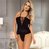 in Stock Personality Black Lace Lace-up Sexy Babydoll